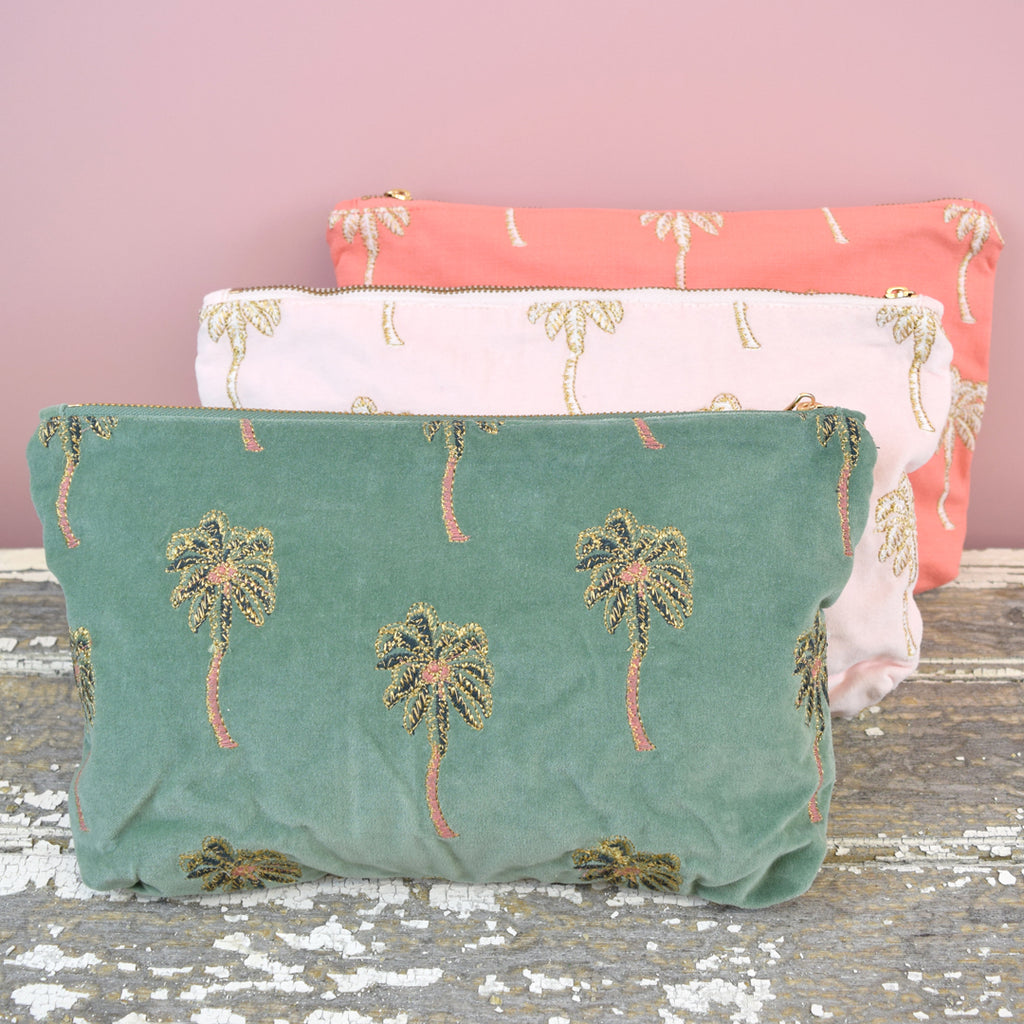 Elizabeth Scarlett African Palm Trees Travel Pouch. Green Velvet.