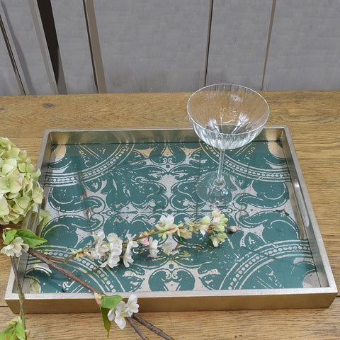 Notre Monde Rectangular Glass Tray. Green Patterned.