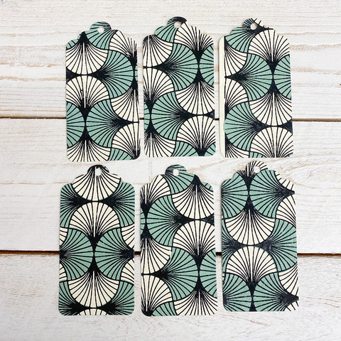 Handmade Gift Tags. Pale Green and Black Fans.