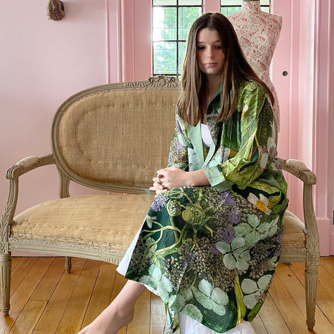 One Hundred Stars Lime Hydrangea Dressing Gown.