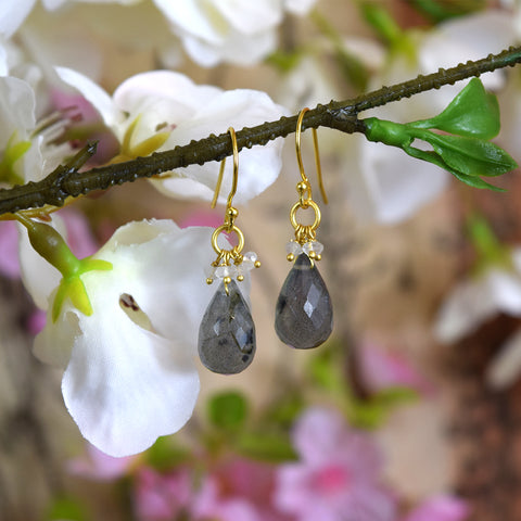 Grey Labradorite and White Stone Earrings.