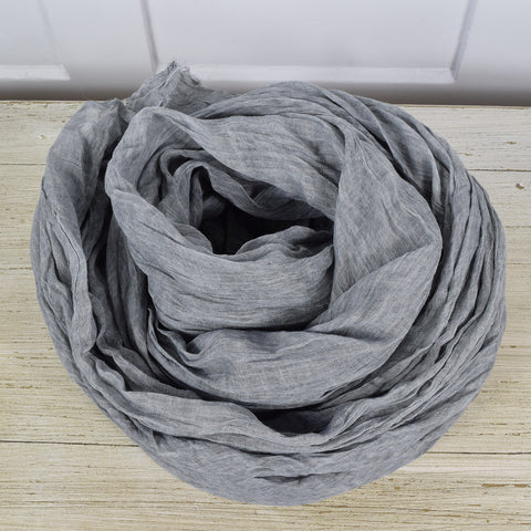 Grey Cotton Frayed Edge Scarf
