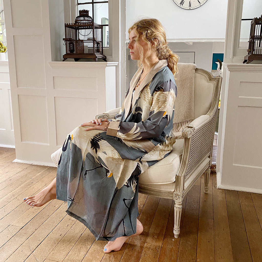 One Hundred Stars Slate Grey Stork Dressing Gown.