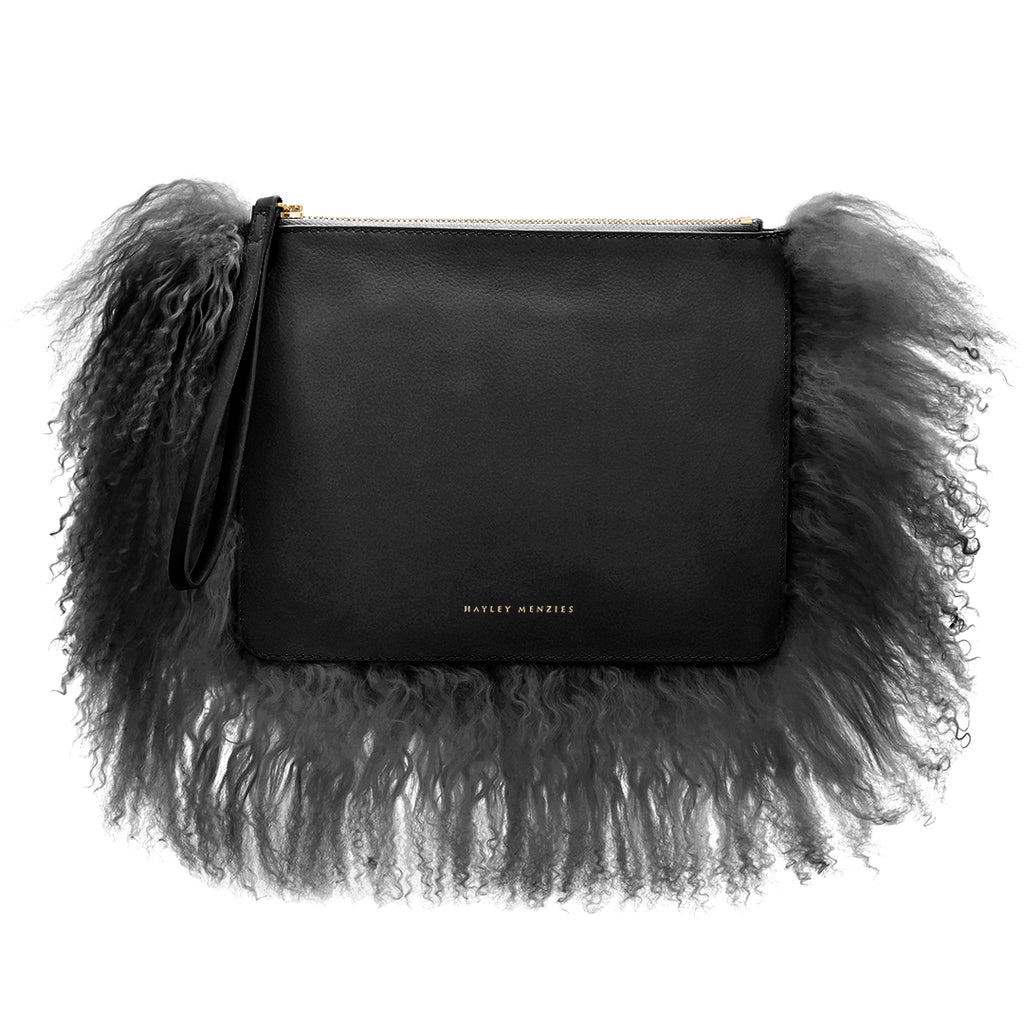 Italian Leather Cloud Bag. Black.