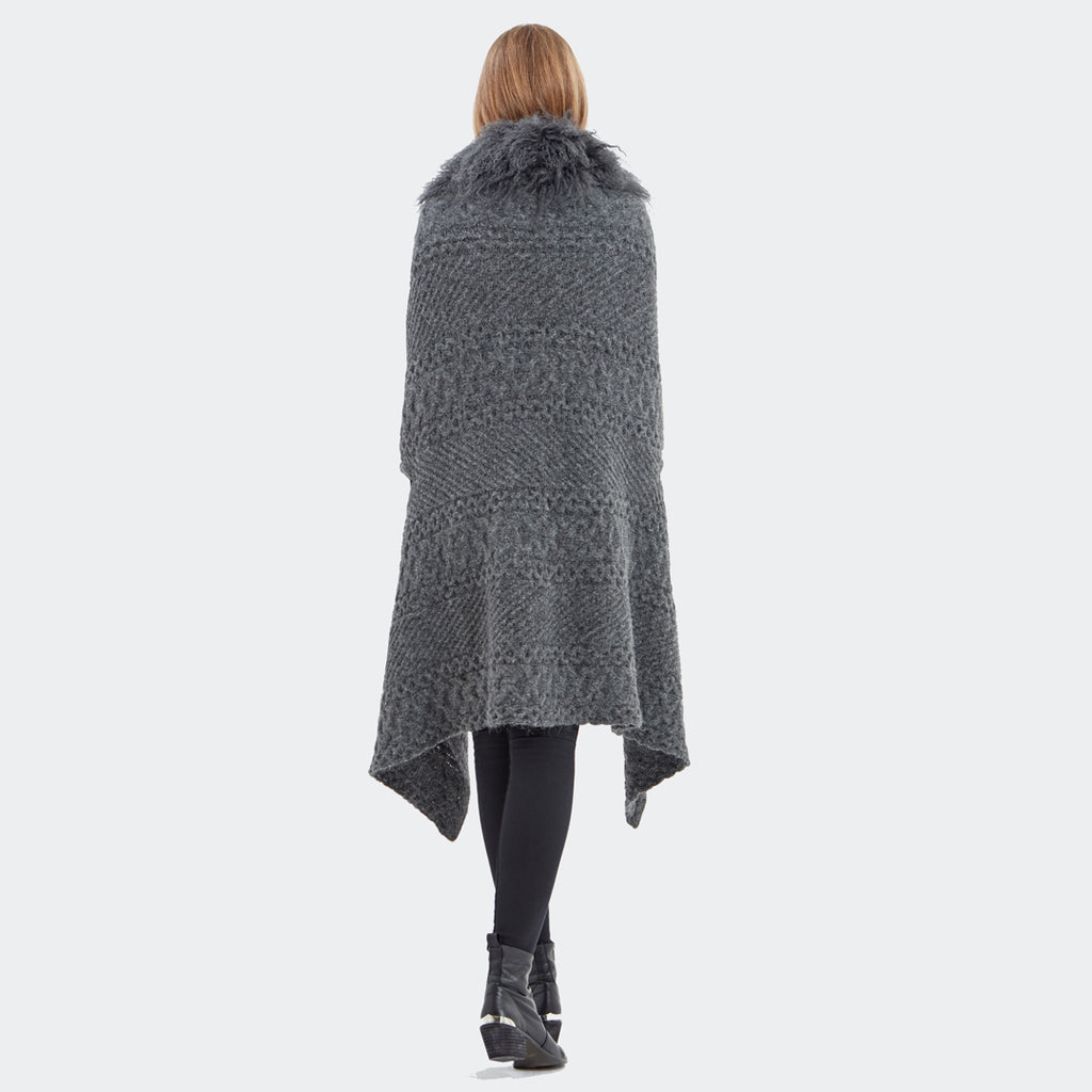 Hayley Menzies Alpaca Portobello Blanket Wrap. Charcoal.