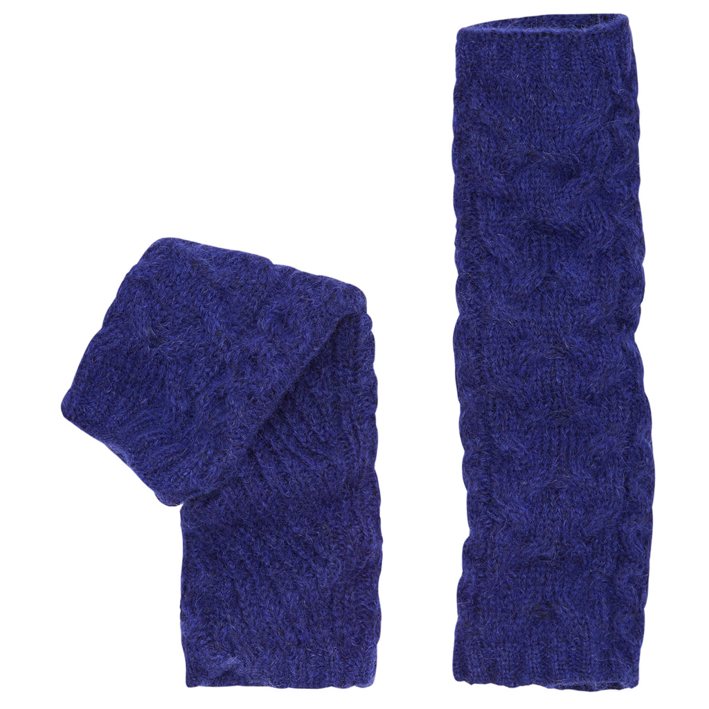 Alpaca Cable Knit Arm Warmers. Cobalt Blue.