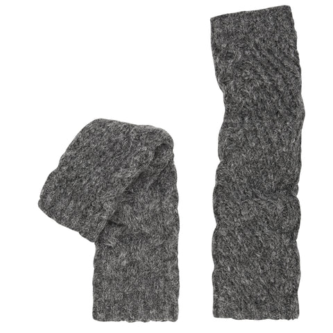 Alpaca Cable Knit Arm Warmers. Charcoal.