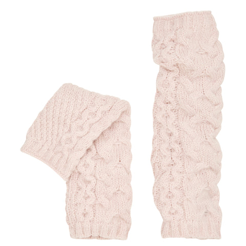 Alpaca Cable Knit Arm Warmers. Pink.