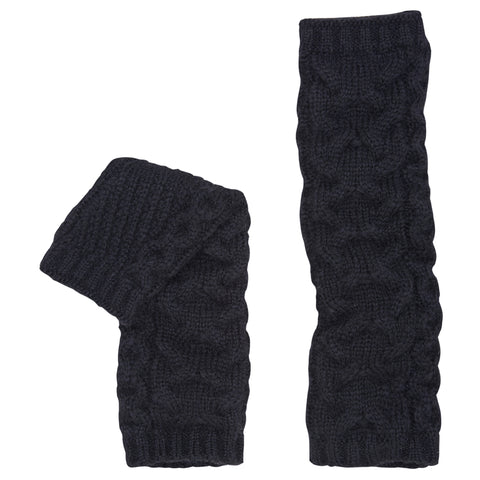 Alpaca Cable Knit Arm Warmers. Black.