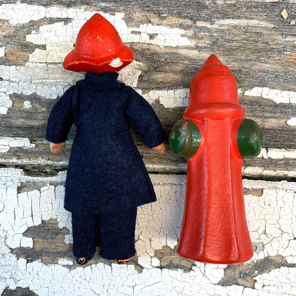 Hertwig Antique Miniature Fireman Boy Doll and Fire Hydrant