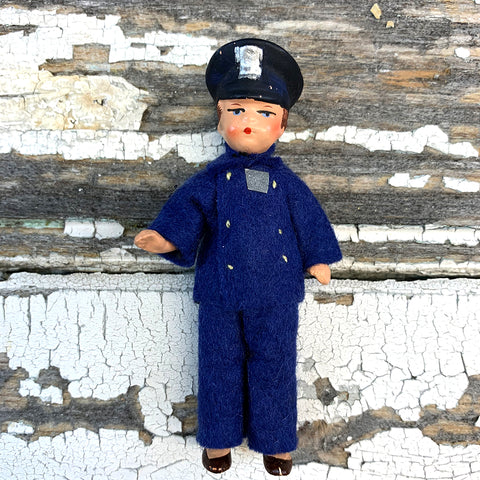 Hertwig Antique Miniature Policeman Boy Doll