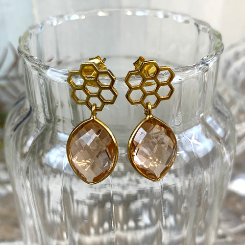 Pink Champagne Quartz Honeycomb Earrings.