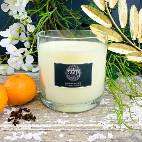 Orange & Clove Christmas Scent Candle. Large.