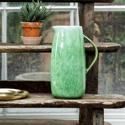 Ceramic Pitcher Jug, Moss Green, by Bungalowdk.
