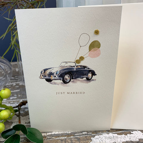 Elena Deshmukh Card, Just Married Vintage Car.