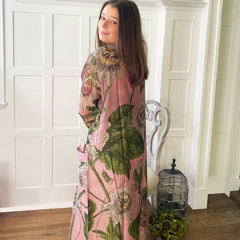One Hundred Stars KEW Passion Flower Pink Dressing Gown.