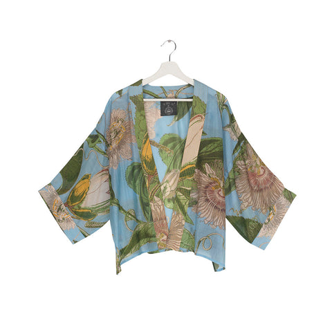 One Hundred Stars KEW Passion Flower Sky Blue Kimono