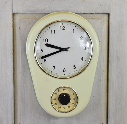 Vintage 50's Clock and Egg Timer, Cream