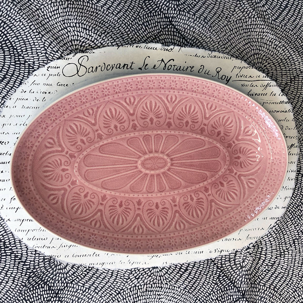 Pink Patterned Crackle Glaze Oval Dish. Small.