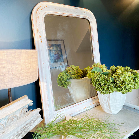 Vintage French Painted Mirror with Rounded Top, Large