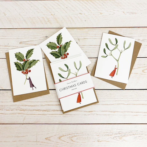 Laura Stoddart Christmas Cards, Mistletoe & Holly 10 Pack.