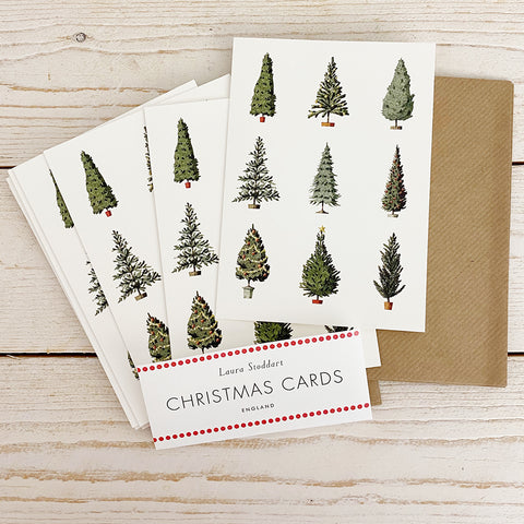 Laura Stoddart Christmas Cards, Christmas Trees 10 Pack.