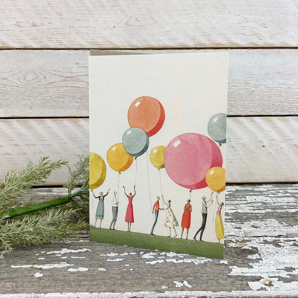 Laura Stoddart Greeting Card, Balloon Party.