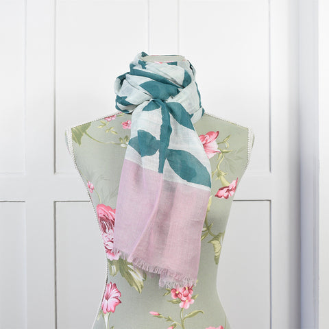 One Hundred Stars Leaf Print Turquoise & Pink Scarf.