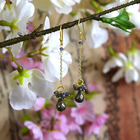 Pyrite and Iolite Drop Earrings.