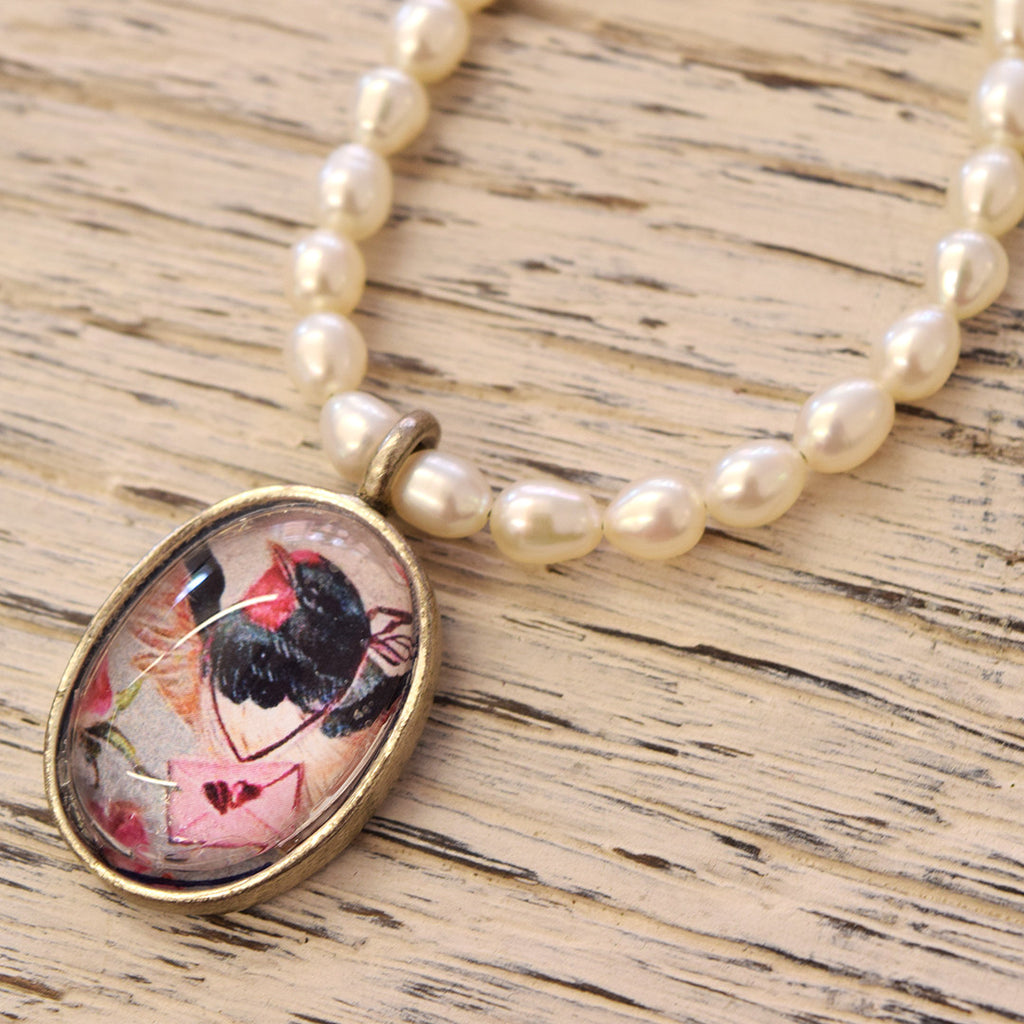 Vintage Style Pearl and Bird Pendant.