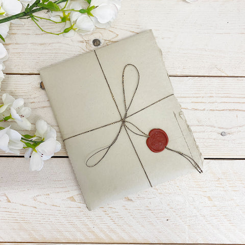 Merci Louis Folded Vintage Handmade Paper Cards & Envelopes. Olive.