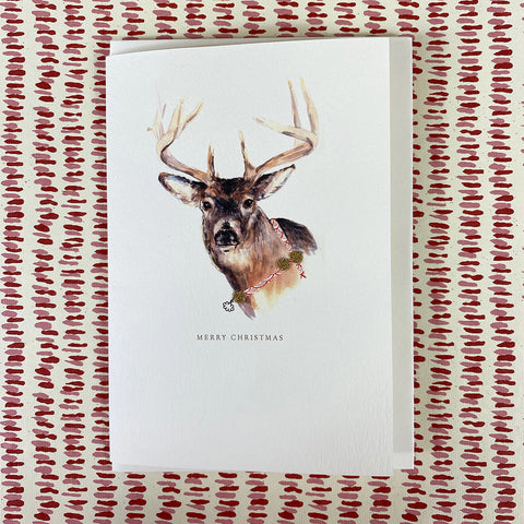 Elena Deshmukh Card, Merry Christmas Artic Reindeer.