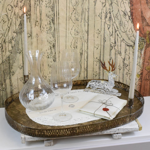 Merci Louis Decorative Metal Tray with Candle Holders