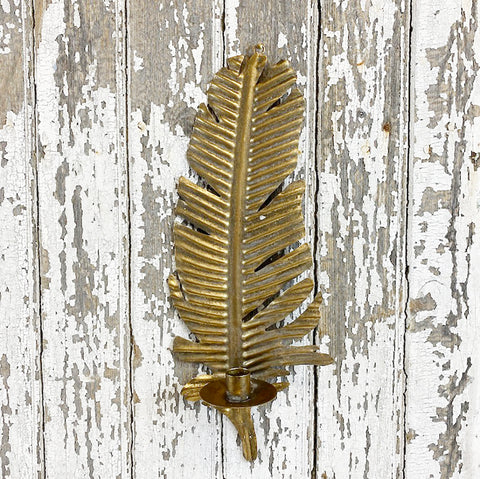 Golden Metal Feather Wall Sconce With Candle Holder.