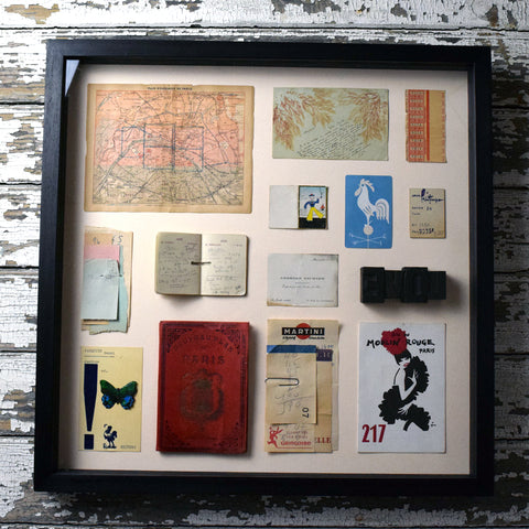 Mini Museum Framed Vintage Stationery. Paris Memorabilia.