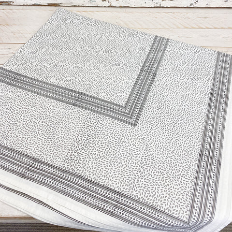 Mini Leaf Grey Table Cloth. Medium.