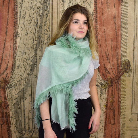 Feneun Modal Silk & Cashmere Scarf with Ostrich Feather Fringe. Mint.