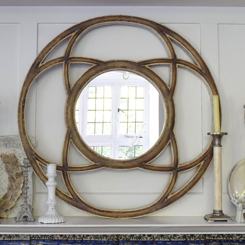 Large French Style Wooden Round Mirror.