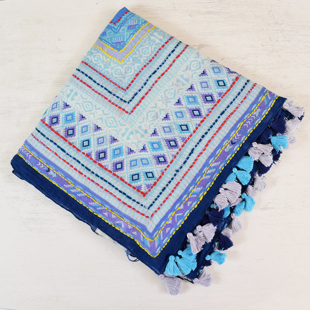 One Hundred Stars Moorish Cotton Blue Scarf.
