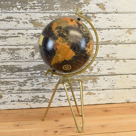 Antique Brass Globe. Large.