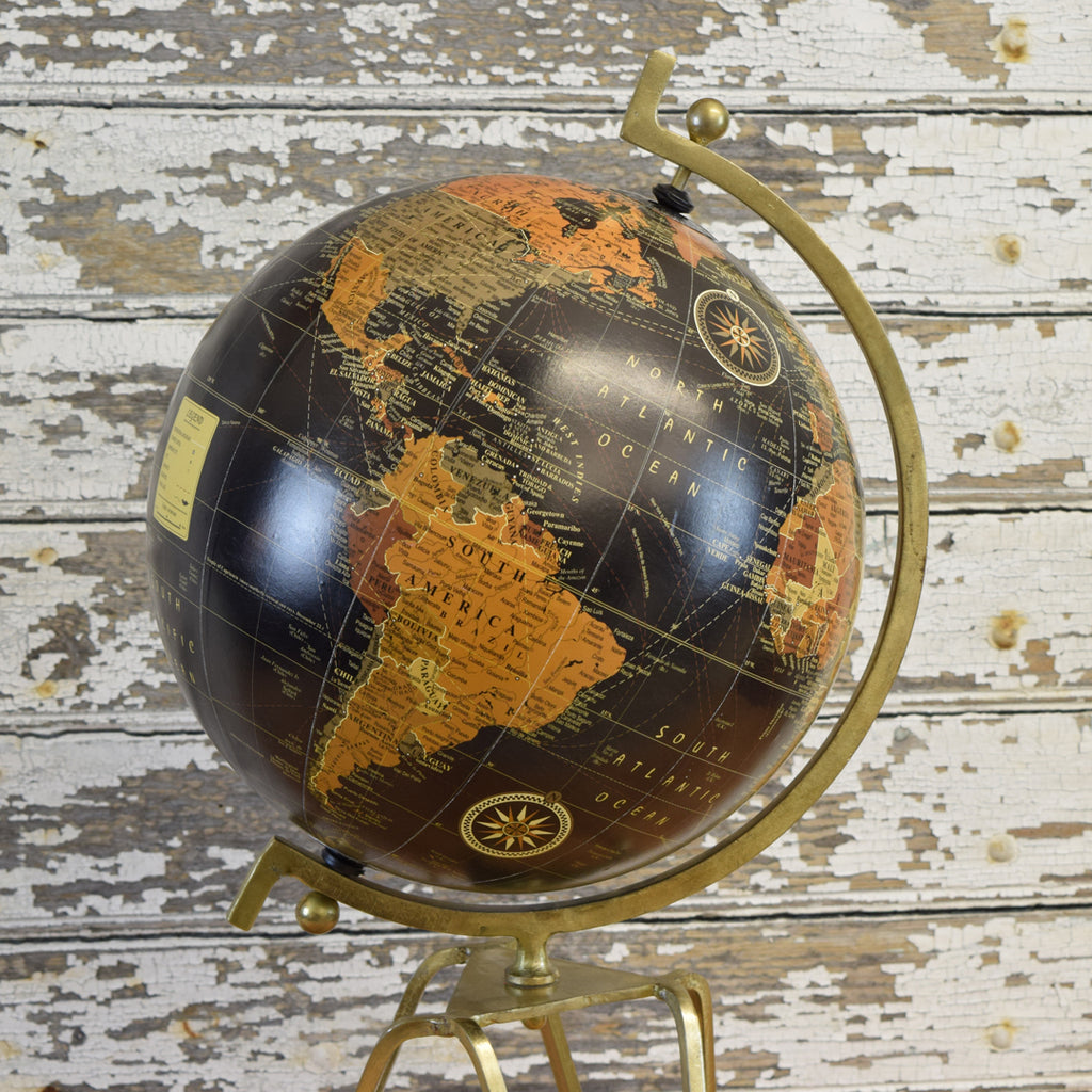 Antique Brass Globe. Small.