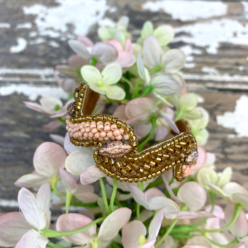 Bungalow Pink and Gold Zig Zag Cuff Bracelet.