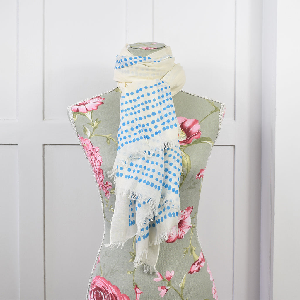 One Hundred Stars White Blue Dots Scarf.