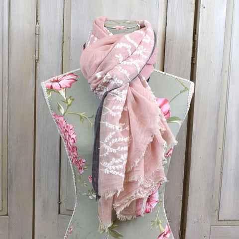 One Hundred Stars Hand-Stitched Pale Pink & Grey Scarf.