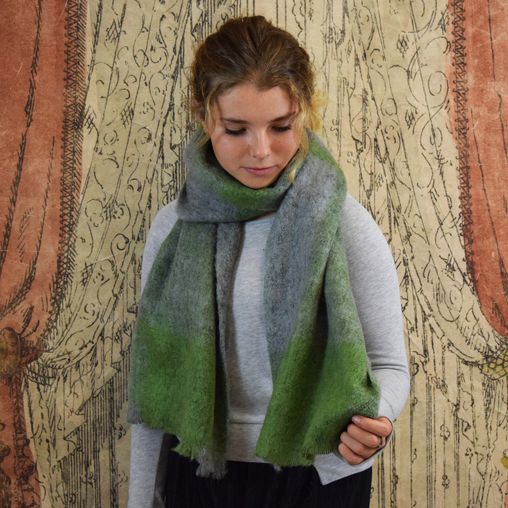 One Hundred Stars Little Fluffy Green & Grey Scarf.