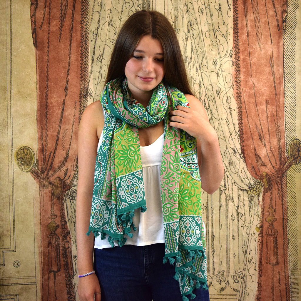 One Hundred Stars Taj Green Scarf.
