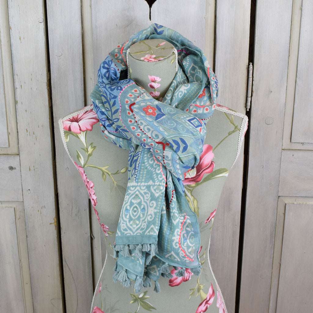 One Hundred Stars Indian Tassel Scarf. Duck Egg Blue.