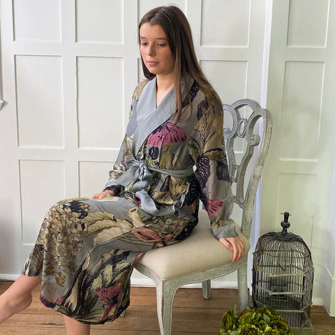 One Hundred Stars KEW Iris Grey Dressing Gown.