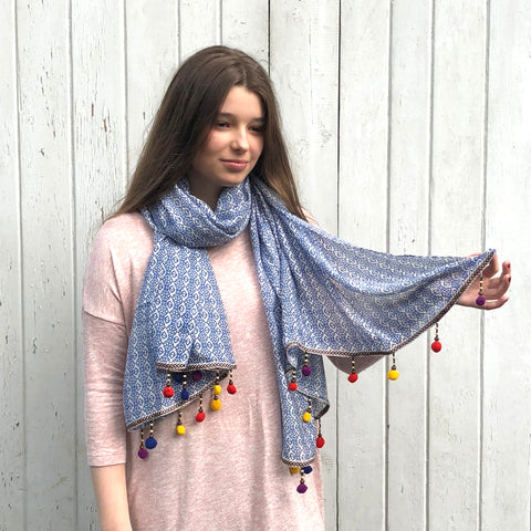One Hundred Stars Summer Pom Pom Scarf.