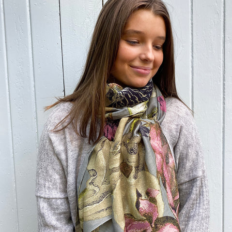 One Hundred Stars Kew Iris Grey Scarf